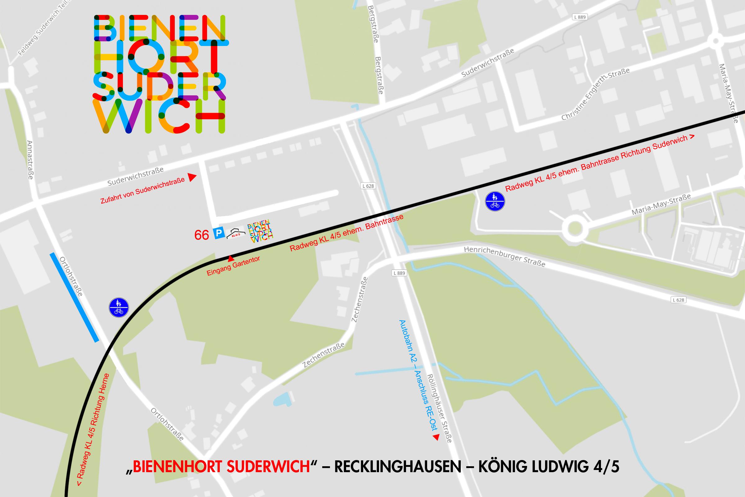 Lageplan Imkerei Bienenhort Suderwich Recklinghausen KL 4/5